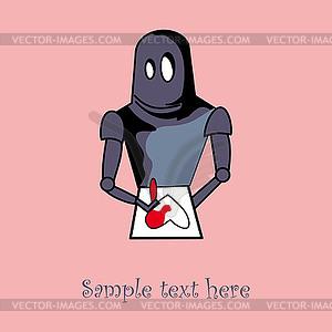 Roboter mit Herz Kartendesign - Royalty-Free Vektor-Clipart