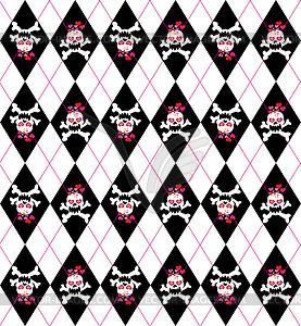 Nahtlose Muster mit Totenköpfen - vektorisiertes Clip-Art