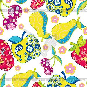 Nahtloses Muster mit Obst - Vektor Clip Art