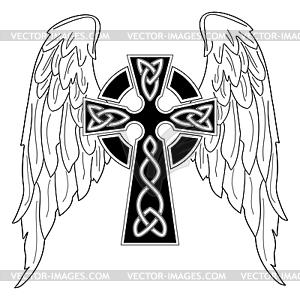 Schwarzes Kreuz mit Flügeln - Vector-Clipart / Vektor-Bild