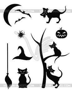 Silhouette-Icons für Halloween - Vektor-Bild