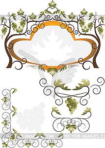 Etikett von Weinblättern - Vektor-Abbildung