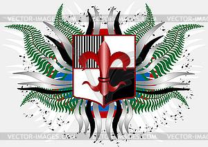 Wappen mit einer roten Lilie - Vektor-Clipart / Vektorgrafik