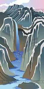 Berge und Fluss - Vektorabbildung