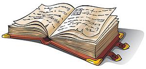 Altes Buch geöffnet - Vektor-Clipart