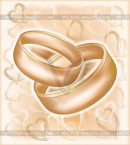 Vintage-Hochzeitskarte mit goldenen Ringen - Vector-Clipart / Vektor-Bild
