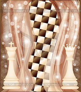 Schach-Karte mit König und Königin - vektorisierte Grafik