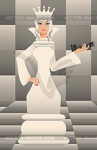 Schach-weißen Königin, Hintergrund - Vector-Clipart EPS