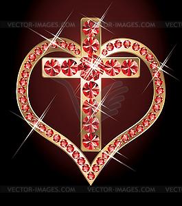 Rubin-Kreuz und Herz. - Vektor-Skizze