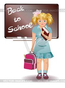 Schulmädchen in Uniform mit Schultasche - Vektor Clip Art