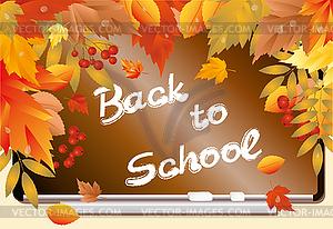 Zurück in der Schule. Schöne Grußkarte mit Ahornblättern - Stock-Clipart