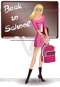 Zurück in der Schule. Schülerin - Vector-Clipart / Vektor-Bild