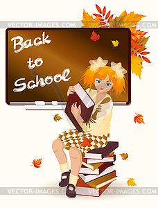 Zurück in die Schule. Junges Schulmädchen mit Büchern - Vector-Bild