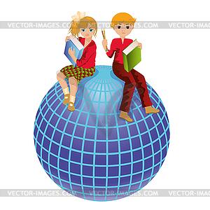 Zurück in die Schule. Schüler und Weltkugel - Royalty-Free Vektor-Clipart