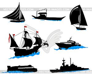 Silhouetten von Schiffen - Vector-Illustration