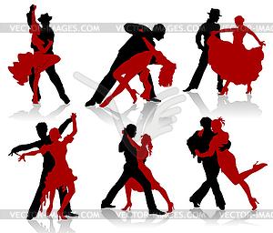 Silhouetten der Paare tanzen Standardtänzen. Tango - Stock Vektor-Clipart