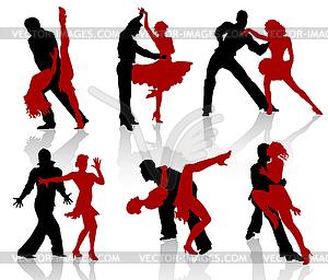 Silhouetten der Paare tanzen Standardtänzen. Tango - vektorisiertes Clip-Art