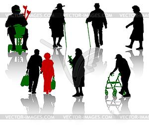 Silhouetten von alten und behinderten Menschen - vektorisiertes Bild