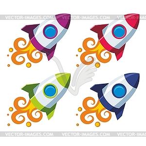 Set mit bunten Raketen - Vektor-Abbildung
