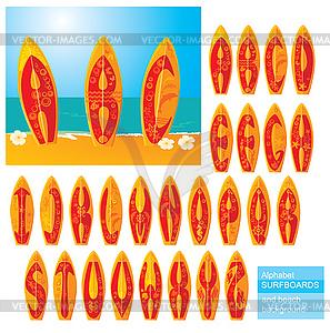 ABC - Alphabet - Surfbretter mit Buchstaben - vektorisierte Grafik