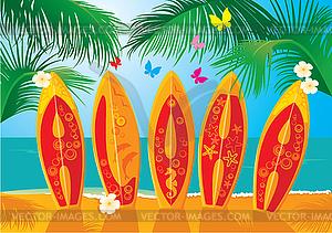 Aloha - festliche Sommerkarten - Surfbretter - Klipart