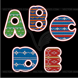 Gestrickten Alphabet - ABCDE - Vektor-Klipart