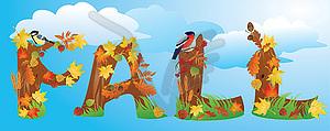 Wort FALL wird von Herbstlaub, Erträge und machte - Vektor-Bild