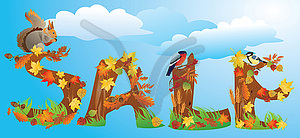 Word-Verkauf wird durch Herbstlaub, Eichhörnchen, Rendite gemacht - Vector-Design