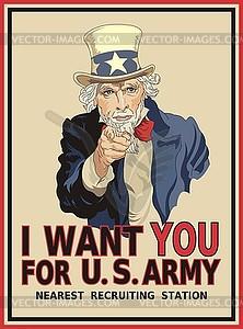Poster mit Uncle Sam - Die US-Armee braucht dich - Vector Clip Art