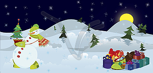 schneemann und christbaum im topf banner vektor clipart. Black Bedroom Furniture Sets. Home Design Ideas