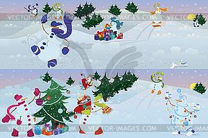 Schneemänner leben in Zauberwald Morgen - Stock Vektor-Bild