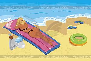 Junge Frau Sonnenbaden am Strand - Vector-Design