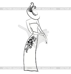 Noble Dame in Handschuhe und Hut schwarz und weiß - vektorisiertes Design