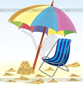 Sonnenschirm Stuhl Sandburg - Vector-Clipart / Vektor-Bild