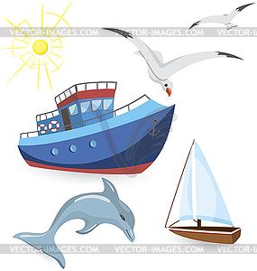 Boote, Delphin, Möwen - vektorisiertes Clipart
