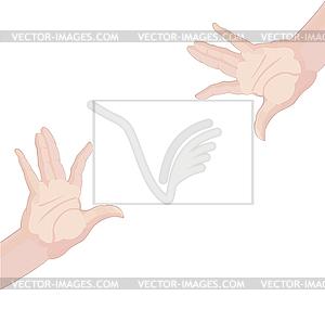 Menschliche Hände halten leere Papier - Vektor-Design