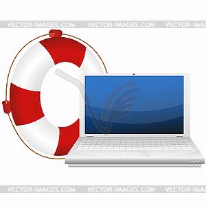 Lebensretter für Laptop - Stock Vektor-Bild