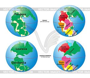 Weltkarte von Pangaea, Laurasia, Gondwana und Meer Tetis - Vector Clip Art