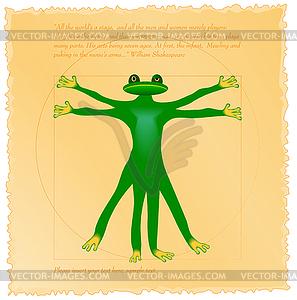 Vitruvian frog - farbige Vektorgrafik