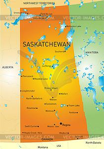Saskatchewan Provinz Karte - Stock-Clipart