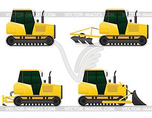 Icons gelb Raupenschlepper - Vektor-Clipart / Vektorgrafik