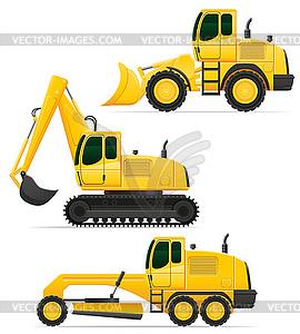 Auto Ausrüstung für Straßenbau - Vector Clip Art