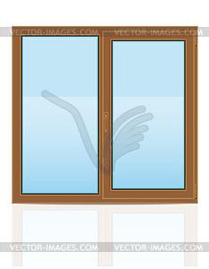 Braune Kunststoff transparent Fensteransicht drinnen - vektorisiertes Clipart