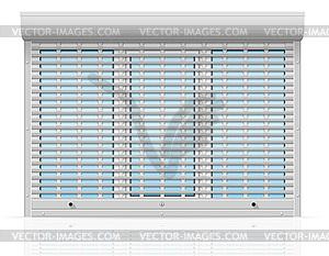 Kunststoff-Fenster hinter Metall perforiert Roll - Vektorgrafik