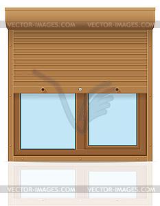 Braune Kunststoff-Fenster mit Rollläden - Vektorgrafik