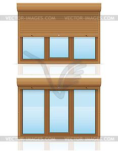 Braune Kunststoff-Fenster mit Rollläden - Vektor-Clipart / Vektor-Bild