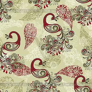 Nahtlose Winter-Muster mit Pfauen und Schneeflocken - Vektorgrafik-Design