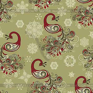 Nahtloses Winter-Muster mit Pfauen und Schneeflocken - Vektorabbildung