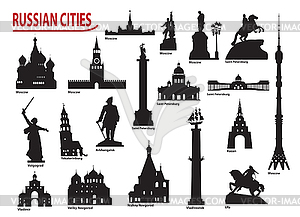 Symbols of Russian cities - vector image