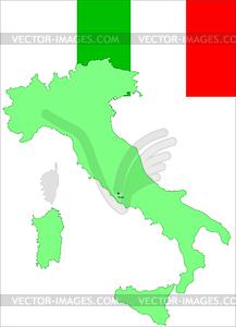 Italien, italienischer Flagge und Karte, - Vector-Clipart EPS